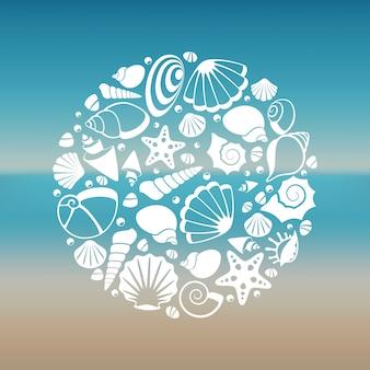 Белые морские раковины силуэт круглые концепции
