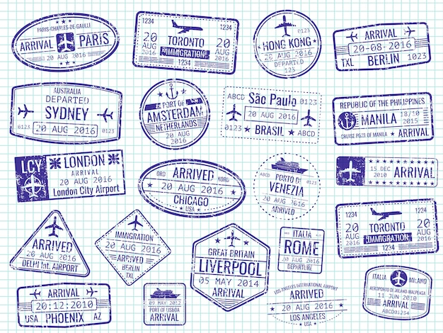 Международные визовые марки на странице ноутбука