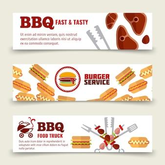 Шаблон барбекю и стейка для горизонтальных баннеров