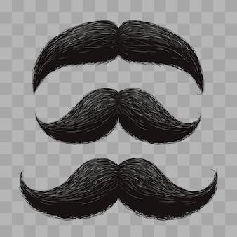 Смешные ретро волосы усы изолированных