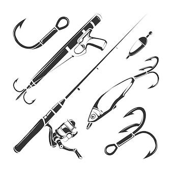 Векторные элементы для винтажного рыболовного клуба