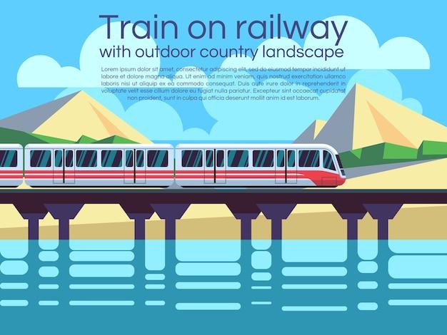 屋外の国の風景を持つ鉄道での列車