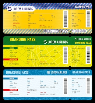 航空会社の搭乗券がモダンチケットモックアップに合格する