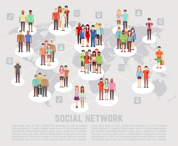 人々のフラットなキャラクターによるソーシャルネットワークのコンセプト