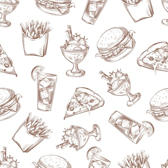 ファストフードベクトルシームレスな背景、あなたの梱包設計のためのメニューパターン。朝食バーガーとドライ
