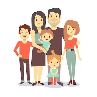 かわいい漫画家族のお母さんとお父さん、カジュアルな服装のベクトルキャラクターファミリー、父と母親