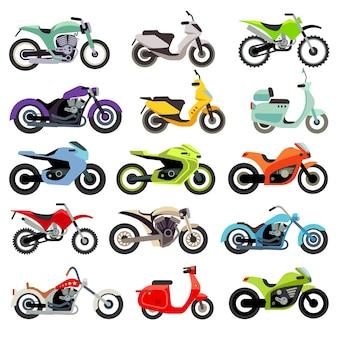 クラシックオートバイバイクフラットベクトルアイコン。スピードバイクのセット、モトバイクのイラストセット