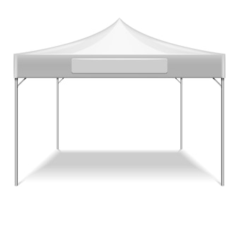 庭の屋外パーティーのための現実的な白の折り畳み式テント。太陽からの保護のためのベクターモックアップテント