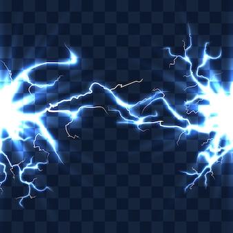 縞模様の透明な背景ベクトル図で隔離された稲妻ビームによる放電