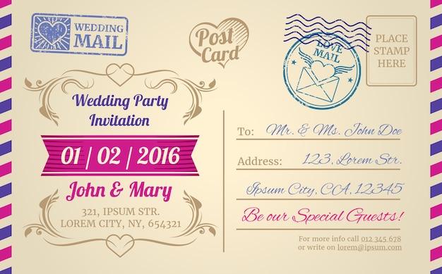 結婚式の招待状、ラブレター、バレンタインデーのためのヴィンテージポストカードベクトルテンプレート。招待車