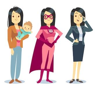 Супер женщина в костюм супергероя, мама с ребенком, бизнесмен, балансировка векторной концепции. материнство