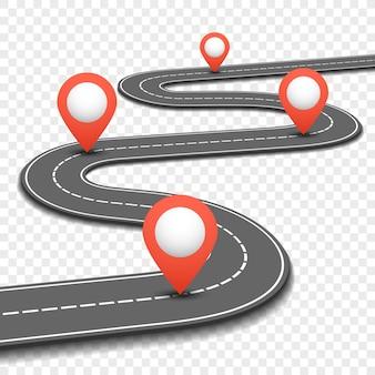 Автомобильная дорожка, улица, шоссе, дорожная карта, инфографика. путь и план направления с красными штифтами