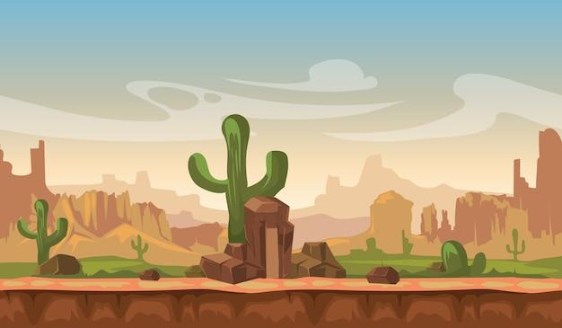サボテン、丘、山々がある漫画アメリカの草原風景。ゲームのシームレスなベクトルバック
