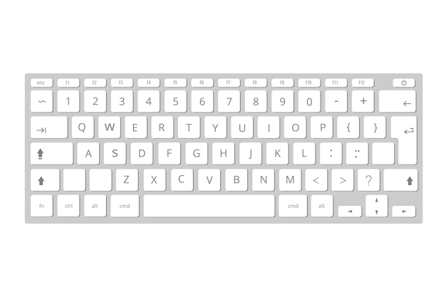 Векторные белые мобильные клавиатуры компьютера, клавиатура