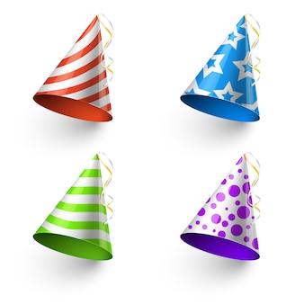 誕生日パーティーおかしい帽子ベクトル写真のブースのテンプレート