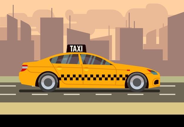 タクシーの車のフラットベクトルイラスト