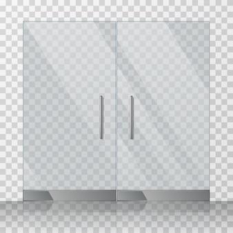 モール、店のガラスのドアのベクトル図