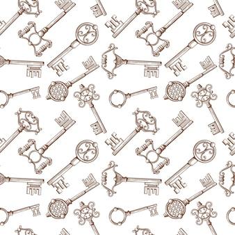 Винтаж замок и ключ вектор бесшовные шаблон
