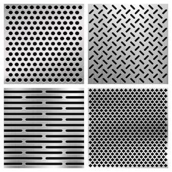 Промышленные металлические перфорированные векторные текстуры