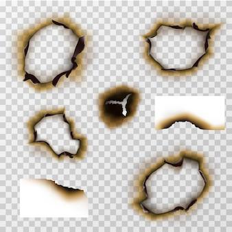 ペーパーまたはパーガメントの焼けた穴、焦げた紙のベクトルセット