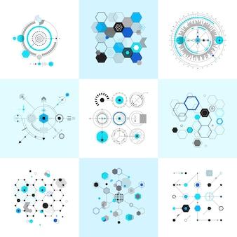 Набор абстрактных геометрических фигур сотовых и круглых баухаусов