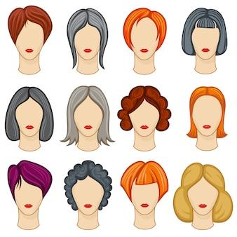 女性の漫画の髪のベクトルの髪型のコレクション
