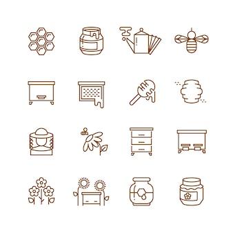 Мед, пчела, пчеловодство тонкой линии векторных иконок