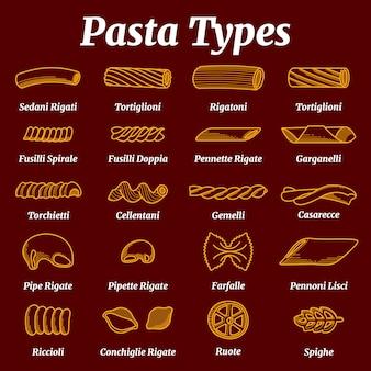 Традиционный итальянский макаронный список с набором векторов имен