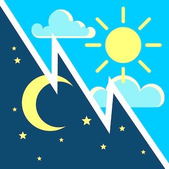 太陽と月の平らなアイコンと昼と夜のコントラストのコンセプト。