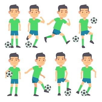 サッカー、フットボールのプレイヤーは、フラットキャラクターのボールセットをプレイしています。フォワードディフェンダーとミッドフィールダー