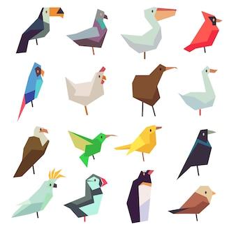 フラットなスタイルのコレクションの鳥。チキンとオウム、雀とハトのイラスト