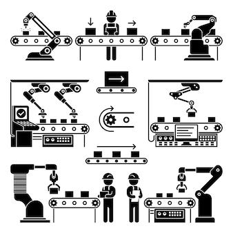 コンベヤー製造ラインと労働者アイコン。ブラックシルエットのプロセス自動化