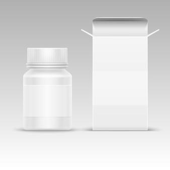 薬のための医療用ブランク包装紙箱と薬のプラスチックボトル