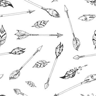 手描きのインドの矢印シームレスなヒッピーのパターン。