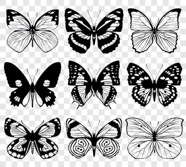 バタフライシルエットマクロコレクション。蝶のセット、黒いシルエットのイラスト