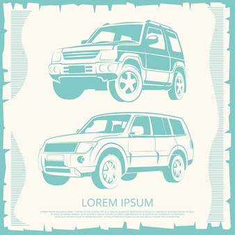ジープの車のデザインとヴィンテージポスター