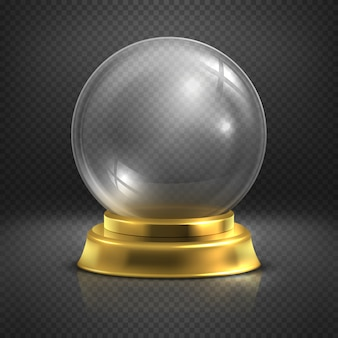 ブール、ガラス空の魔法のボール、スノーワールドのイラスト。現実的なボールの光沢のある透明