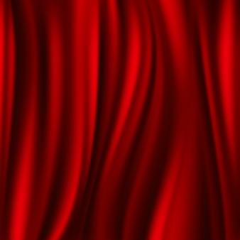 Красный шелк, атласный телячий текстиль, волнистый фон абстаза. атласная гладкая текстура, иллюстрация
