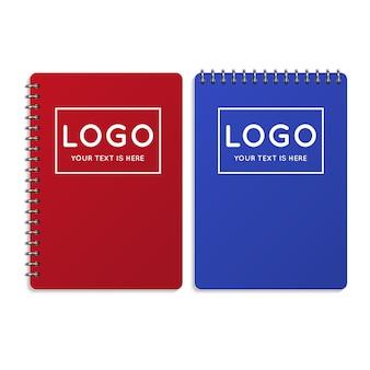 現実的なオフィスノート、日記のイラスト。ビジネスや学校のノートブック