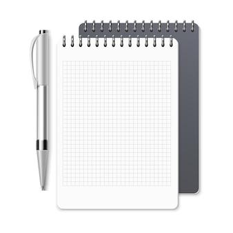 ノートブック、空の螺旋メモ帳と企業のアイデンティティのためのペンテンプレート。ノートブックを開く