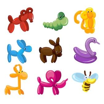 子供のパーティーのためのバルーン動物のおもちゃの装飾。セットのバルーン動物