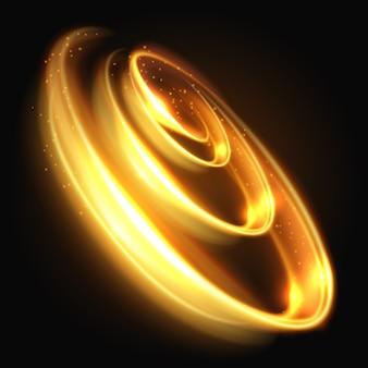 ゴールドライト効果、黄色のライト渦巻き抽象的な背景。エネルギーライトラウンドフレーム