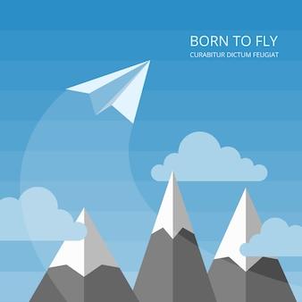 紙の飛行機でベクトルの背景