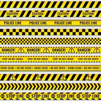 黒と黄色の警察のストライプの国境