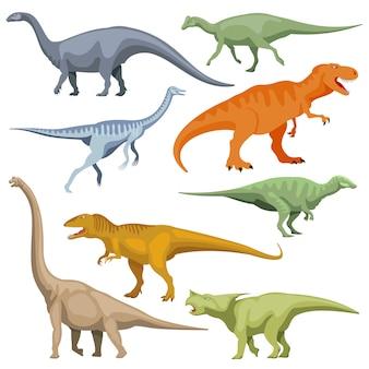 Мультфильм динозавр, набор рептилий вектор