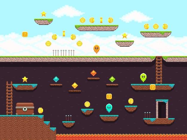 レトロなプラットフォームゲームのビデオゲーム