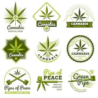 大麻ベクトルロゴとラベルセット