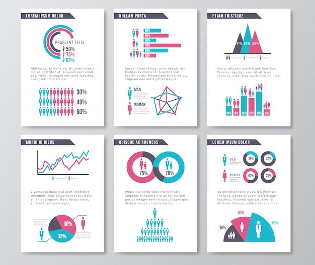 人口統計アイコン、図表、要素を含むベクトルビジネスインフォグラフィックパンフレットページ