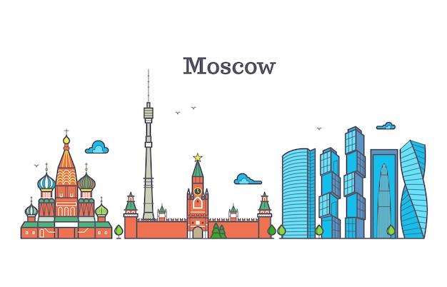 モスクワベクトルラインパノラマ、近代都市のスカイライン、ロシアの輪郭シンボル、フラットな都市の風景
