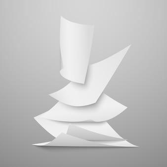 落ちる文書の白い白紙、ページのベクトル図